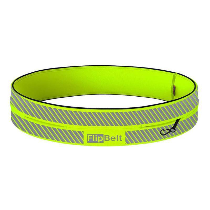 飛力跑運動收納腰帶反光款-螢光黃 S