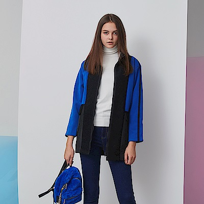 ICHE 衣哲 時尚高領撞色拼接挺版造型外套-皇家藍