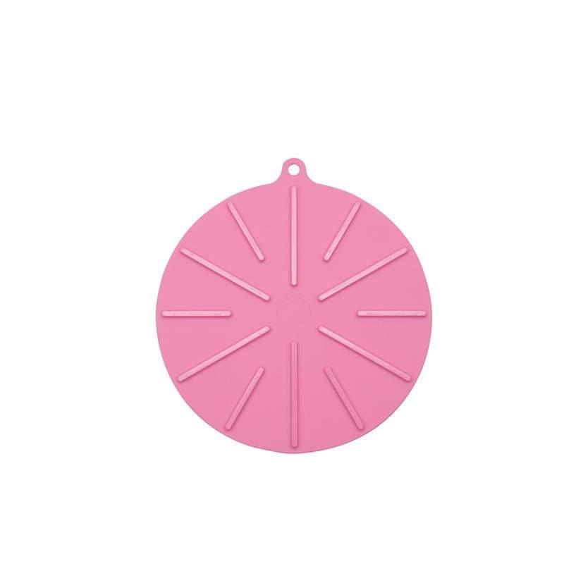18cm圓型矽晶鍋墊(高低差凹槽設計,可當杯具瀝乾墊 ) - 櫻花粉