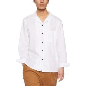 ウィゴー(メンズ)(WEGO) WEGO/ストレッチブロードオープンカラーシャツ【ホワイト/M】
