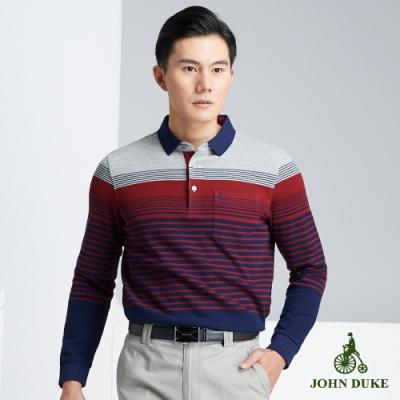 JOHN DUKE 約翰公爵率性樂活橫條POLO衫_藍/紅/灰(60-8V5568)