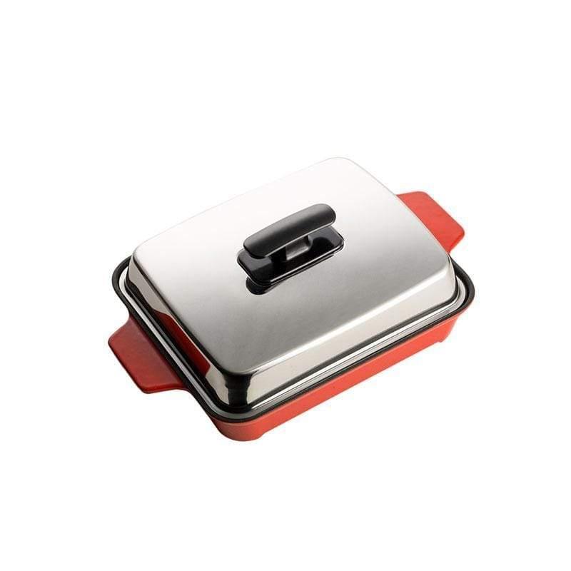 A5鑄鐵3層琺瑯平烤盤(不含全氟辛酸不沾鍋塗層)-紅 火焰紅