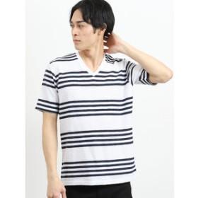 【semantic design:トップス】コールドタッチスラブリップルボーダーVネック半袖Tシャツ