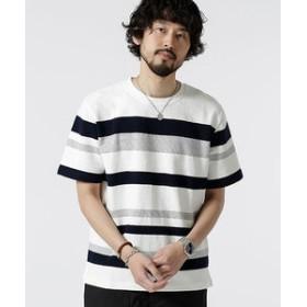 【nano・universe:トップス】ジャガードランダムボーダークルーネックTシャツ