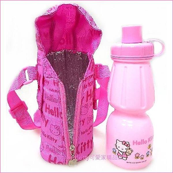 asdfkitty可愛家☆KITTY粉紅色直飲水壺+拉鍊水壺套/水壺背袋-韓國正版商品