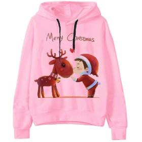 Fenshuda 女性の冬の秋クリスマスフードカジュアルブラウススウェットシャツ 12 S