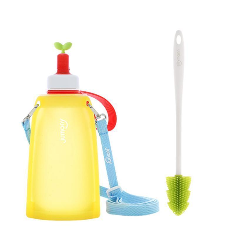 100%兒童便攜捲式鉑金矽膠水瓶-300ml-檸檬黃+水瓶刷(綠色)