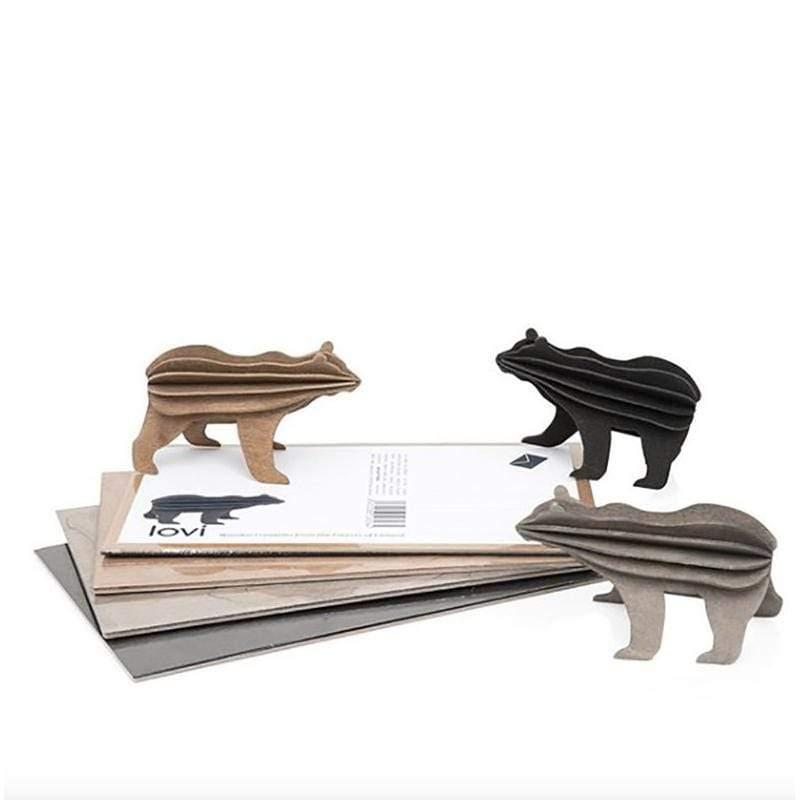 3D立體拼圖樺木明信片|擺飾|禮物 - 棕/黑熊 (13.5cm/明信片包裝) 黑熊