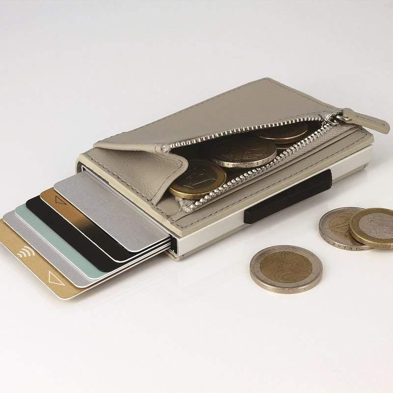 Cascade Zipper Wallet RFID 安全防盜真皮拉鍊三摺錢包-Blaster 太空銀