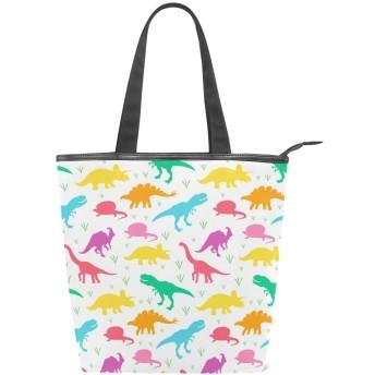 かわいい恐竜 トートバッグ おしゃれ ハンドバッグ レディース 肩掛け ショルダーバッグ ファスナーキャンバスバッグ 多機能バッグ