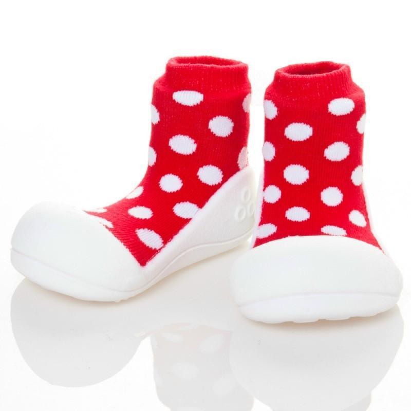 快樂學步鞋-圓點紅- M