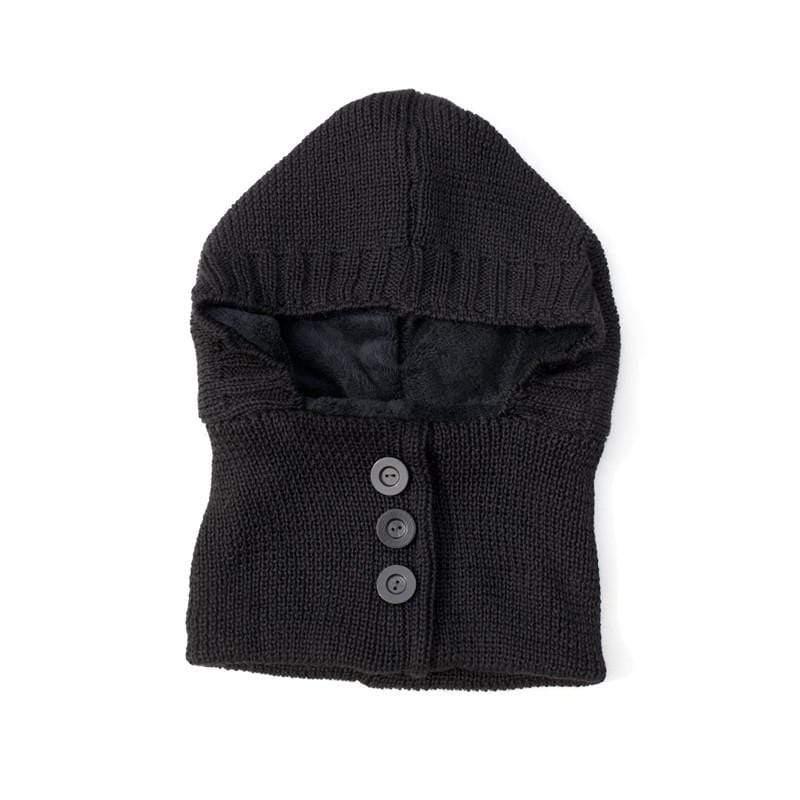 全手工極細軟羊駝毛圍脖帽(含扣+鋪毛內裡)-Alpaca Black