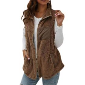 FRPE Women Sleeveless Sherpa Gilet Furry Vest Coat Coffee US S