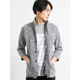 【TAKA-Q:トップス】スラブ杢イタリアンカラー7分袖カットジャケット