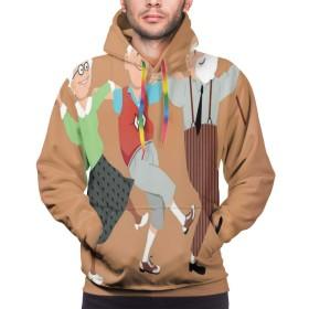 男性用クリスマスパーカー男性用パーカーセーターシャツ、三人の幸せな先輩ダンスシルタキゾルバダンスレクリエーション活動、XL