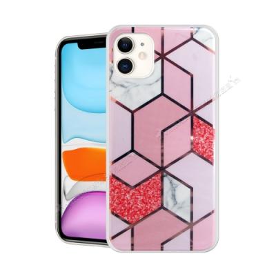 VXTRA 燙金拼接 iPhone 11 6.1吋 大理石幾何手機殼 保護殼(星砂粉)