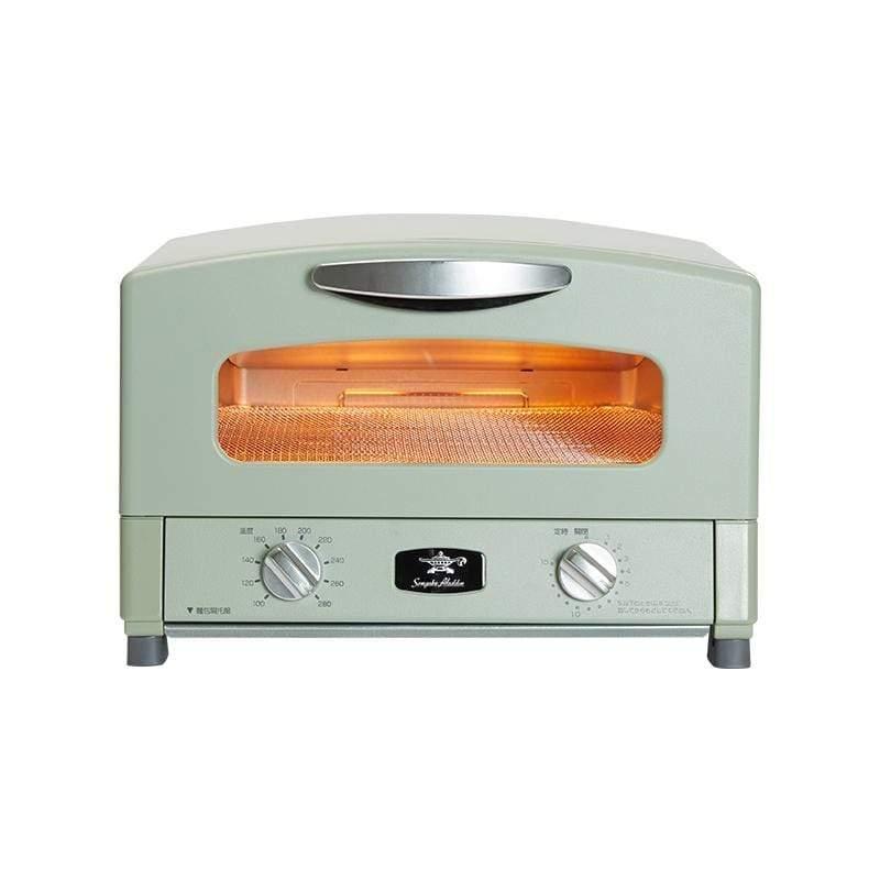 「專利0.2秒瞬熱」4枚焼復古多用途烤箱AET-G13T-白/綠色(附烤盤) 白色