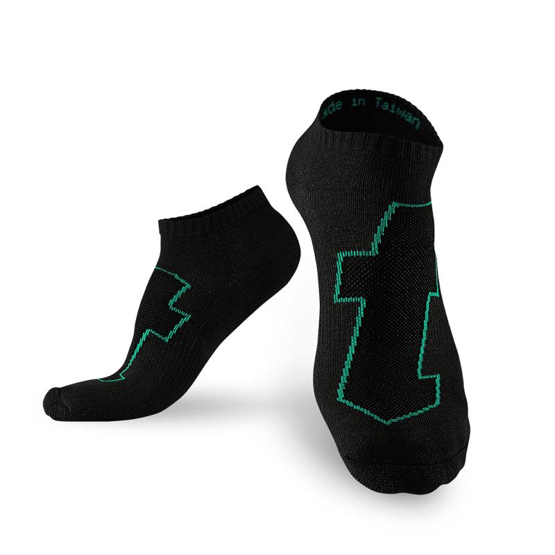 生活運動襪 黑綠 (5雙)_送titan立體洗衣袋 M (22-25cm)