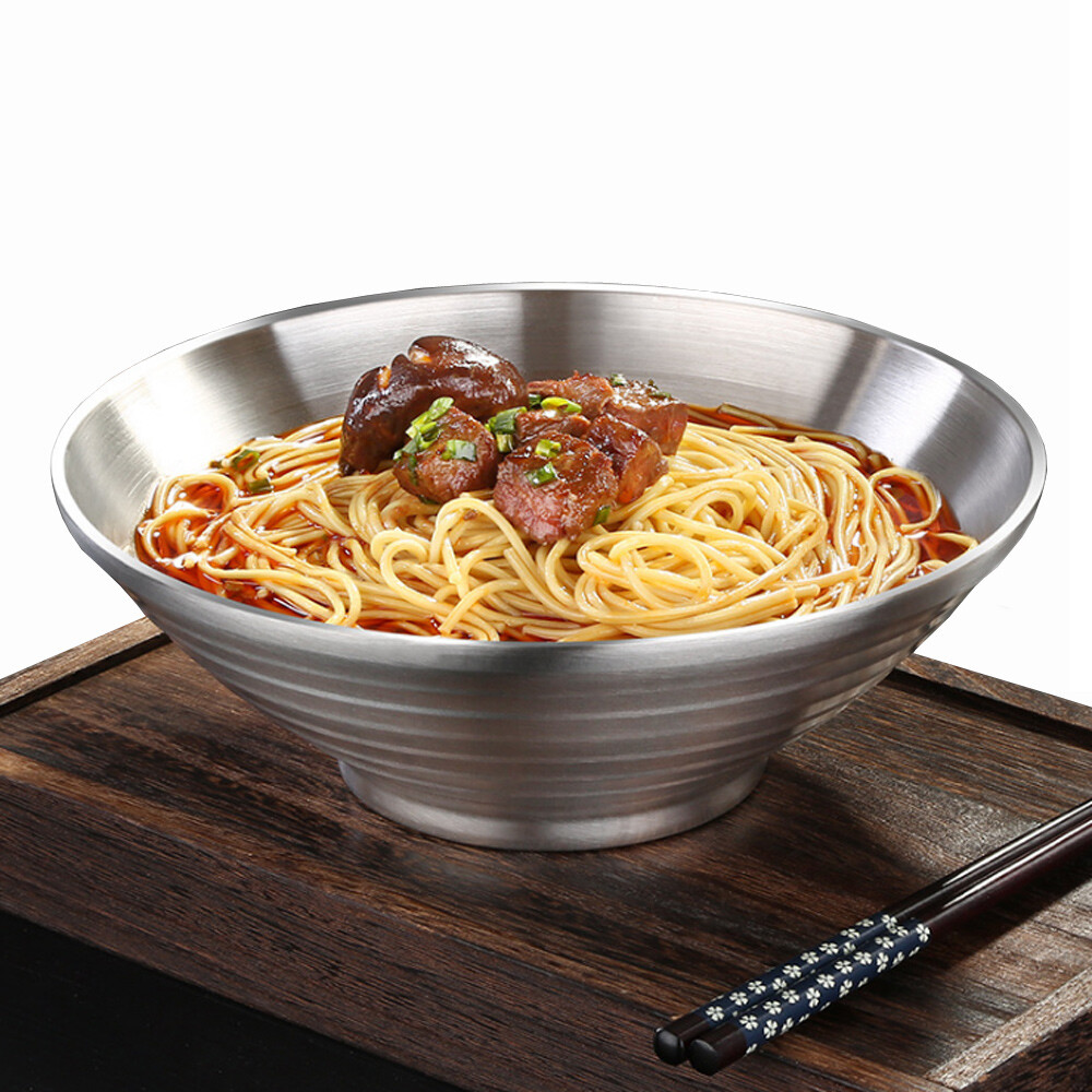 push!餐具用品304不鏽鋼飯碗湯碗泡面碗防燙拉麵碗大號碗(24cm)e128-1
