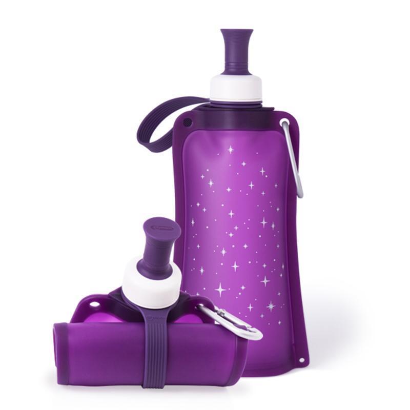 100%時尚便攜捲式鉑金矽膠水瓶-550ml-星空紫