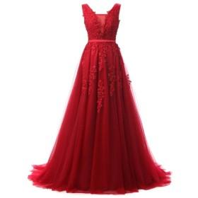 ウエディングドレス 女性のVネックのウェディングドレスチュールアップリケ花嫁の花嫁介添人ドレスのためのブライダルノースリーブの深いドレスレースアップバックスイープトレインフォーマルロングイブニングカクテルドレスウエディングドレス (色 : 赤, サイズ : US18W)