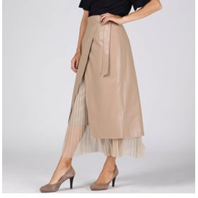 【J Lounge:スカート】パンチングレザーラップスカート