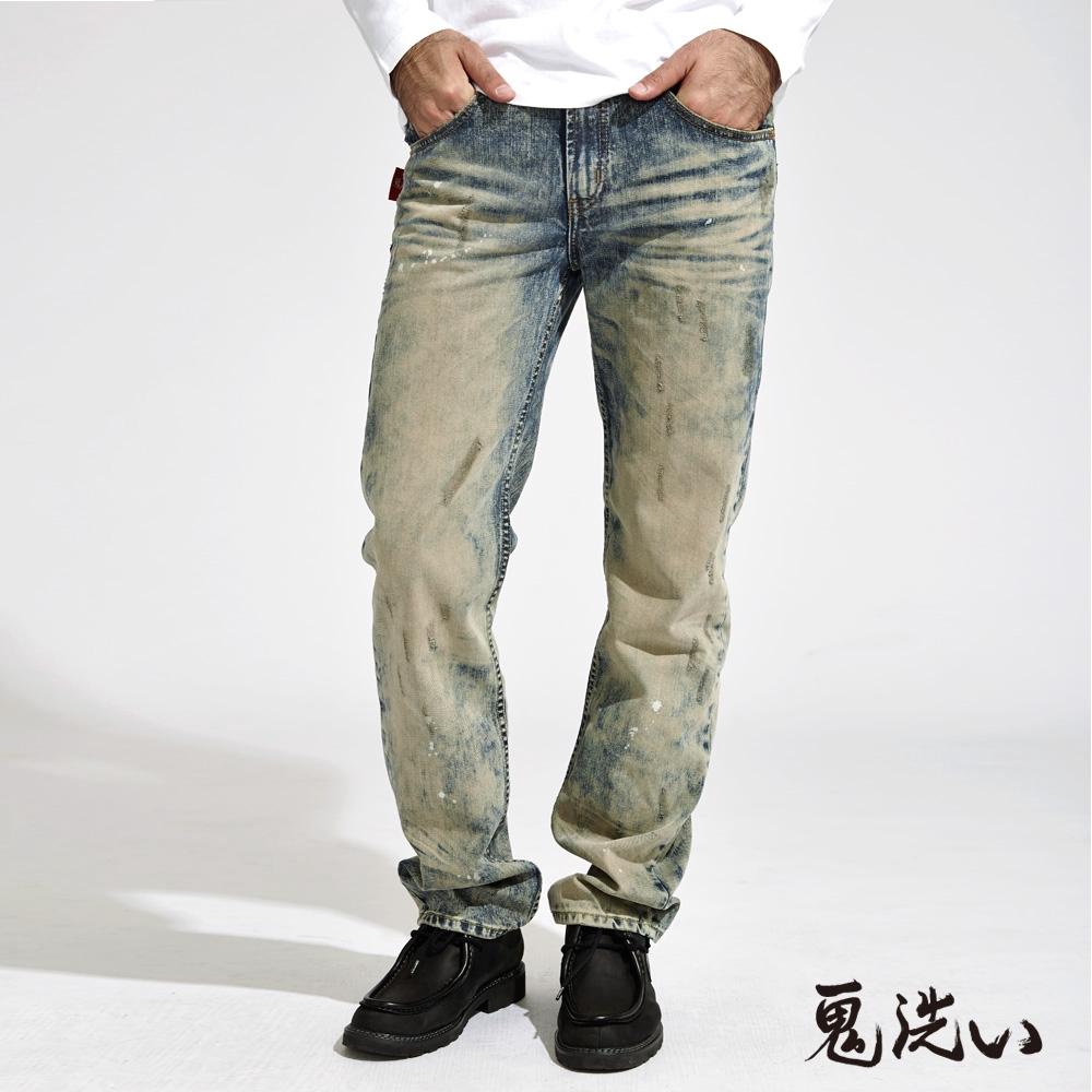 BLUE WAY 鬼洗 ONIARAI-鬼洗率性潑漆紅邊中腰直筒褲