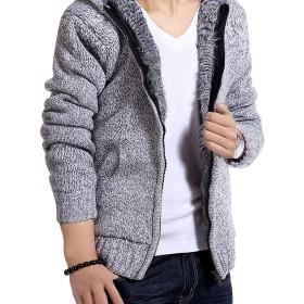メンズ カーディガン 帽子つき セーター ファッション ジップ ニットパーカー 裏起毛 厚手 秋 冬 上着 Q Gray-M