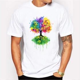 Tシャツ ラウンドネック夏のプリント半袖Tシャツカラフルなツリーリフレクションプリントカジュアルラウンドネック半袖野生のTシャツ 紳士服 (Color : White, Size : S)