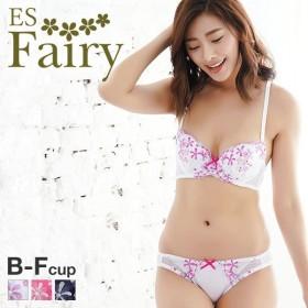 23%OFF (イーエスフェアリー)ES Fairy サマーフラワー 3/4カップ ブラジャー ショーツ セット BCDEF 大きいサイズ(1771262B)