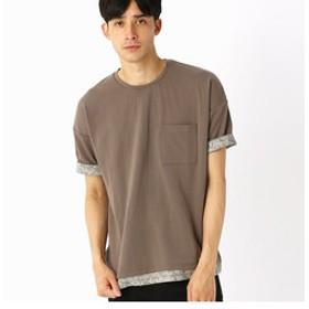 【COMME CA ISM:トップス】異素材コンビ ビッグTシャツ