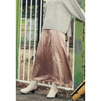 LIPSTAR 【Willful by lipstar】ヘビーサテンフレアスカート その他 スカート,ベージュ