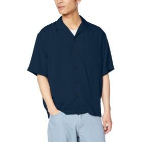 ウィゴー(メンズ)(WEGO) フィブリルオープンカラーシャツ【ネイビー/L】
