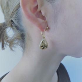 パール&リーフピアス ミリアムハスケル vintage pierced earrings PE4-1219