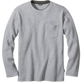 [エディー・バウアー] Eddie Bauer 長袖ワッフルレイイヤークルーネックポケットTシャツ 長袖Tシャツ メンズ (ライトヘザーグレー XL)