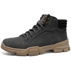 [SJXIN-Mens Boots] 冬のメンズブーツ、男性の足首の靴レースアップスタイルスエードヴァンプアンチスリップラウンドトウステッチアウトドアスーパーソフトメタル装飾用半長靴 (Color : グレー, サイズ : 24 CM)