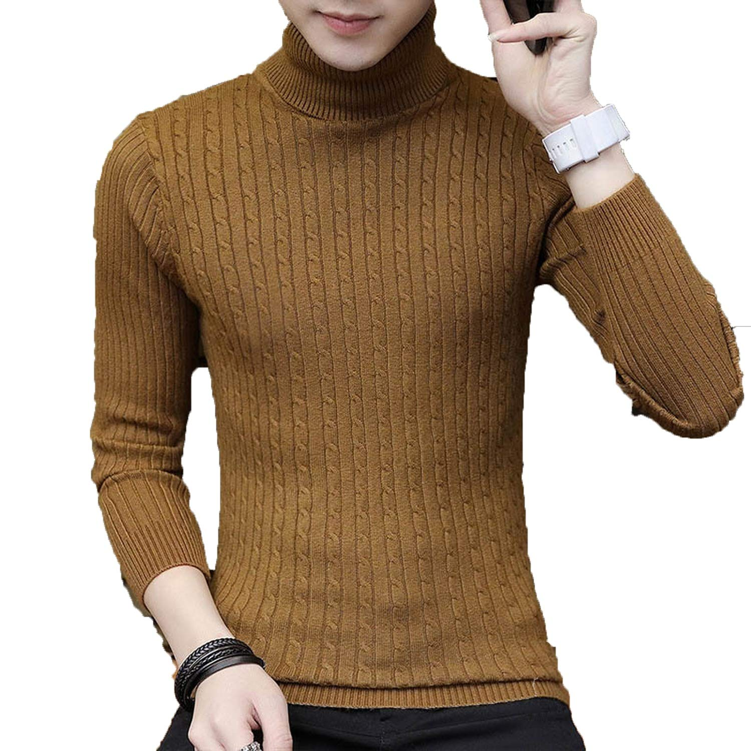Winter Sweater Autumn Men Turtleneck Solid For Casual Slim Fit Knitted Pullovers