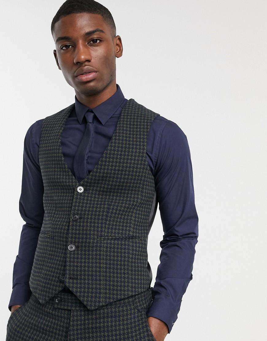ASOS DESIGN skinny suit waistcoat in wool mix houndstooth in khaki-Green