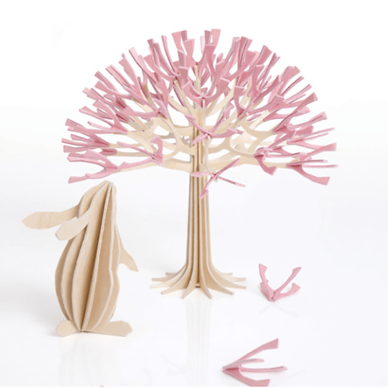 3D立體拼圖樺木明信片|擺飾|禮物 - 寶貝兔 (6cm) 原木色