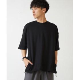 【improves:トップス】裾スピンドル綿ポンチ五分袖ビッグTシャツ