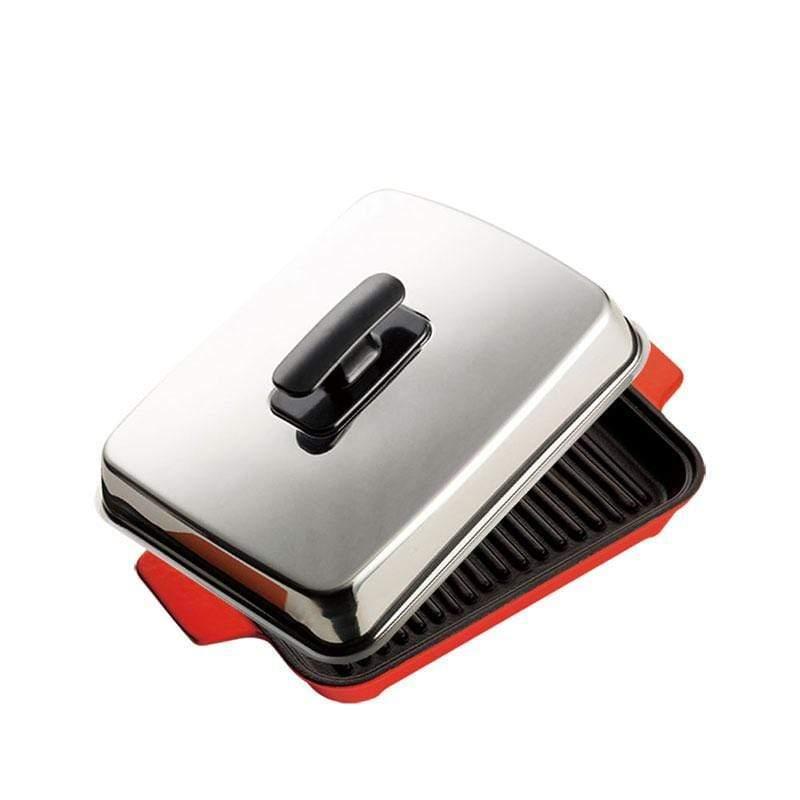 A5鑄鐵肋烤盤-紅/橘 兩色可選 火焰紅