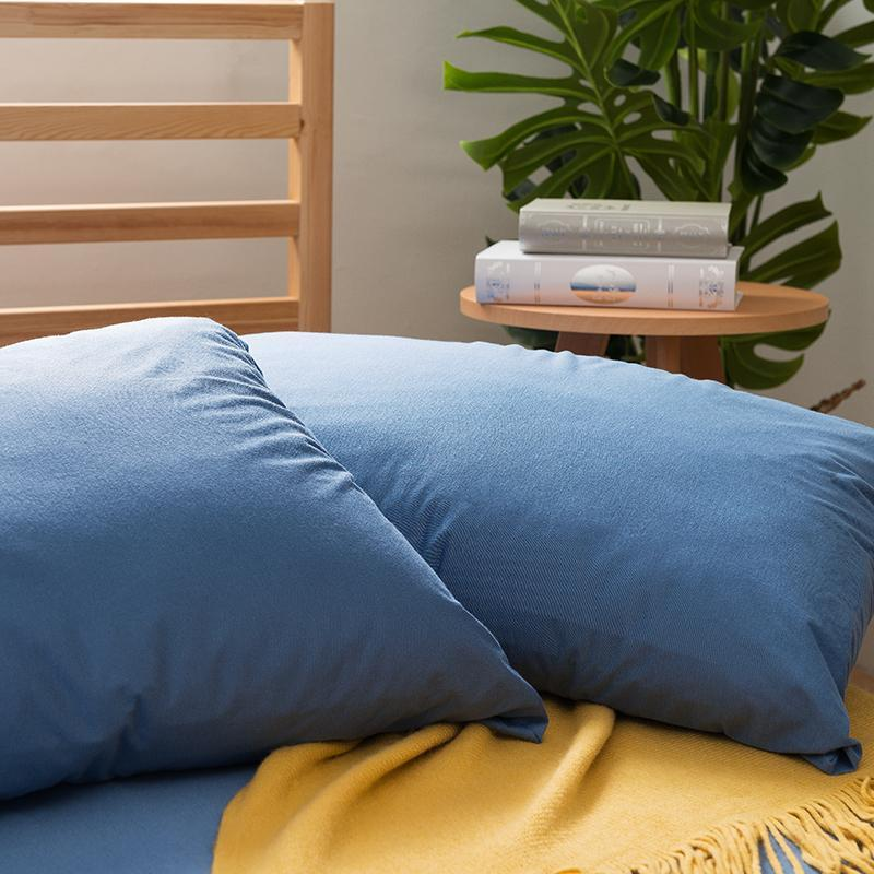 涼爽竹棉纖維 2-in-1防汙床包三件組-特大 霧藍