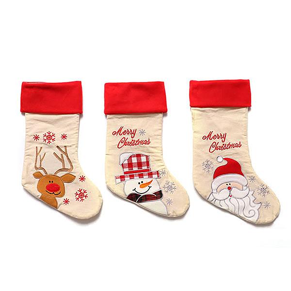 【888便利購】45公分米白歐美風精緻電鏽聖誕襪(飯店賣場家裡佈置)