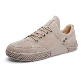 [Jusheng-shoes] メンズシューズ 男性アスレチックシューズバックルピッグスキン軽量通気性フレキシブル無地滑り止めアウトドアスポーツ丸いつま先 カジュアルシューズ (Color : Sand Color, サイズ : 24.5 CM)
