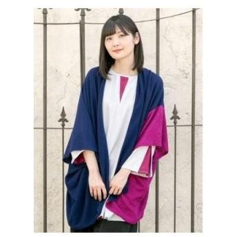 【カヤ】-attakee- 七宝柄 華色羽織り ビッグシルエットニットカーディガン ネイビー