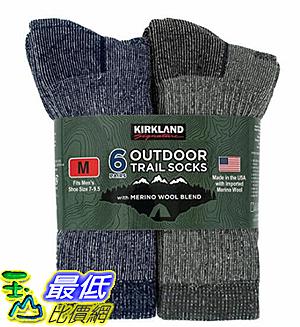 [COSCO代購] W7699887 Kirkland Signature 科克蘭 美麗諾羊毛混紡戶外襪六入