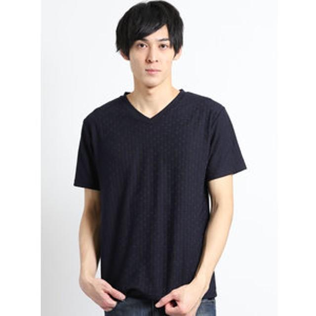【m.f.editorial:トップス】リンクスジャガード市松柄 Vネック半袖Tシャツ