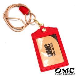 【OMC】歐洲植鞣牛皮直式識別證套悠遊卡套-紅色