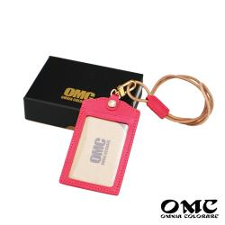 【OMC】歐洲植鞣牛皮直式識別證套悠遊卡套-粉色