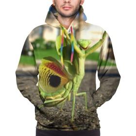 パーカー 長袖シャツ メンズ ポケットある カマキリ プリント ゆったり スウェット 大きいサイズ プルオーバー 春 秋 冬